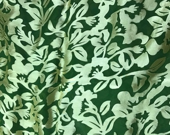 Burnout Devore Satin - Spinach Green Hand Dyed Floral - 1 Yard