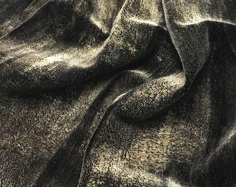 Hand Painted Silk Velvet Fabric - Metallic Gold on Black - Fat 1/4