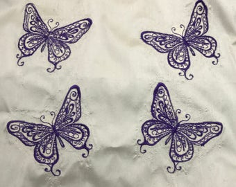 Embroidered Silk Dupioni Fabric - Purple Butterflies