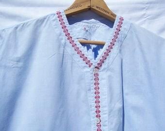 Vintage Antique Men's Sleepshirt Nightgown Large Ice Blue