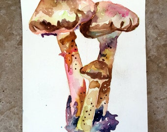 Weeping Widow Mushrooms Original Painting - Watercolor Mushroom Art by Jen Tracy - Beautiful Watercolor Painting of Fungi