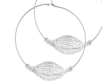 SILVER extra large hoop earrings -  Wire Crocheted bubble - Wire work jewelry - Giant hoops - unique hoop earrings - Unique Christmas gift