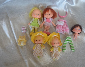 LOT of Five (5) Vintage Strawberry Shortcake Dolls + Clothes + Pets Twins Bear Ballet Meringue