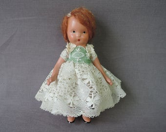 Vintage Nancy Ann Storybook Doll, Altered with restyled hair and clothing, All bisque