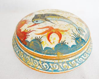 vintage greek pottery covered bowl dolphin fish antique box museum reproduction