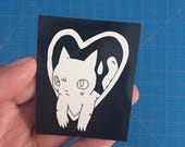 Cat in Heart Sticker