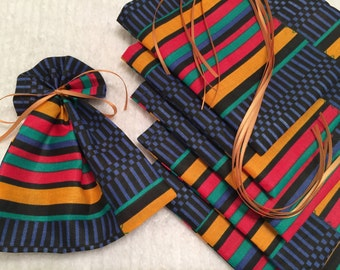 African Print Mini Bags, Party Favor Bags, Fabric Gift Wrap, Ribbon Tied Pouch, Black History Month