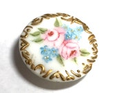 Antique Hand Painted Porcelain Stud Button - Roses - Forget Me Nots - Late 1800's