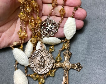 Gem Quality Citrine Rosary Bronze Carved Ivory Wire Wrap Unbreakable INTRODUCTORY PRICING by HeartFelt Rosaries j
