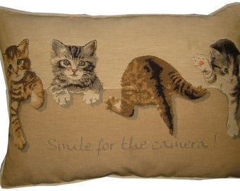 Kittens Smile for the Camera Oblong Tapestry Cushion Pillow Cover
