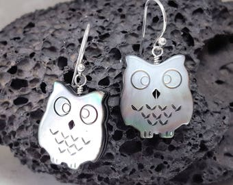 Owl Earrings Mother of Pearl Earrings Sterling Silver Earrings