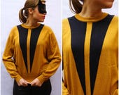 1970's Oversized Loose Pullover Sweater in Mustard Yellow and Black by Jaeger | Medium/Large