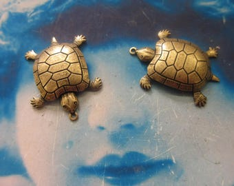 Brass Ox Plated Brass Sea Turtle Stamping Charms 107BOX x2