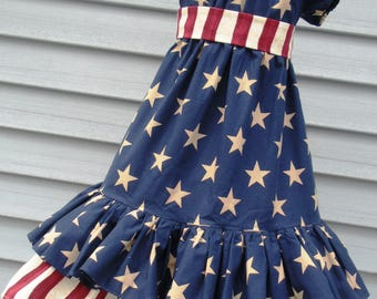 Ready to Ship Custom Boutique Red White Blue Patriotic American Dress  4th of July Will Fit Girl  Size 4 or  5