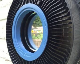 Vintage Kodak Slide carousel accent mirror- Black & cornflower blue
