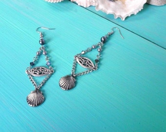 shell & filigree charm earrings with grey beads - mermaid earrings, mermaid accessories, beach bridal