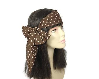 Brown and White Polka Dot Chiffon Hair Scarf Polka Dot Neck Scarf Brown Hair Scarves Brown Neck Scarves Brown and White Polka Dot Scarves