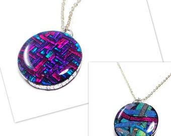 Reversible Mosaic Necklace- Polymer Clay Purple Pendant Gifts for Her Birthday Graduation Ready to Ship