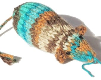 Knit Catnip Mouse Cat Toy is the Colors of the Forest
