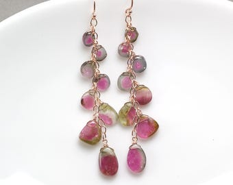Watermelon Tourmaline earrings, Tourmaline slice cascade earrings, 14k Rose gold filled earrings, October Birthstone, Gift for Her