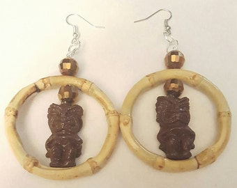 Tiki earrings, Brown, Brown tiki, Tiki, Tiki jewelry, Tiki Oasis, Tiki jewelry, MsFormaldehyde