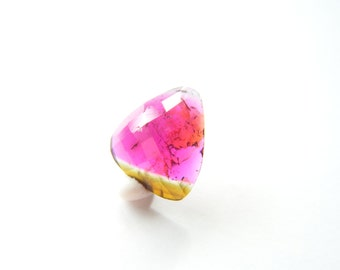 Watermelon Tourmaline Rose Cut Drop - Single - 9.5x11mm