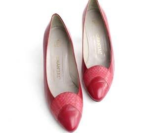 sz 5.5 | Vintage Chantal Leather Court Shoes | Lipstick Red Snakeskin Pumps | 35.5