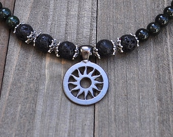Sun God Necklace Gunmetal Grey Carved Metal Sun Black Lava Rock & Green Jade Jewelry Unisex for Him or Her