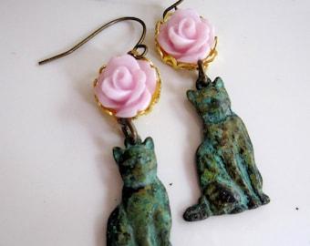Cat Earrings, Flower Earrings, Verdigris Patina, Garden Jewelry, Botanical Earrings, Bohemian, Vintage style, Gardendiva