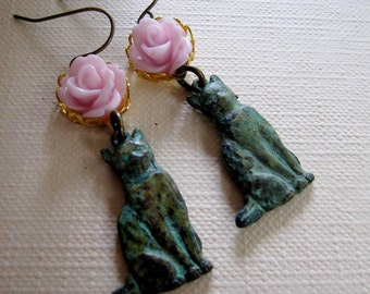 Cat Earrings, Pink Flower Earrings, Verdigris Patina, Garden Jewelry, Botanical Earrings, Bohemian, Vintage style, Gardendiva