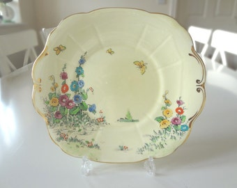 Crown Staffordshire Hollyhocks Cake Sandwich Plate Porcelain Pattern Number 742202 Antique 1930s Made in England - EnglishPreserves
