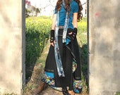 Peacock - boho cotton linen maxi skirt / blue maxi skirt / embellished asymmetrical skirt / layered skirt (Q31285)