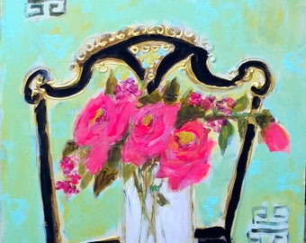 Black chair, Pink, roses, chinoiserie
