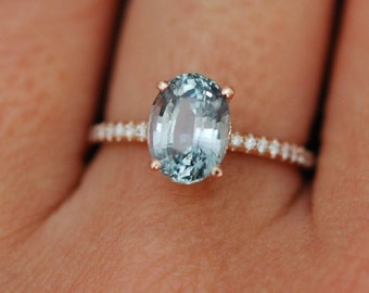 Mint sapphire engagement ring. Blue green teal sapphire 2.9ct oval cut diamond  ring 14k Rose gold Blake Lively ring by Eidelprecious