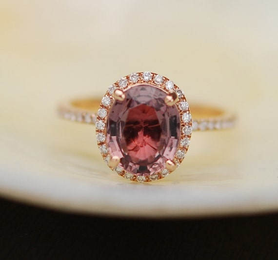 Burgundy Sapphire Ring Rose Gold Engagement Ring 2.2ct oval 14k rose gold diamond ring. Engagement rings by Eidelprecious.