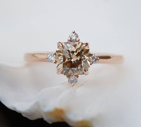 Engagement ring Champagne diamond ring 1.2ct VVS2 light Brown asscher cut diamond ring natural diamond. Engagement ring by Eidelprecious