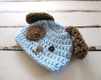 Baby Boy Halloween Costume, Crochet Infant Dog Hat, Baby Animal Hat, Baby Boy Puppy Hat, Newborn Beanie, Photography Prop, Blue, Brown