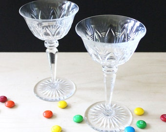 Set of two vintage cut glass sherry glasses.