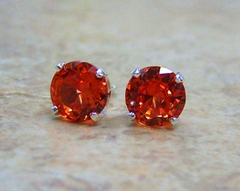 8mm Lab Padparadscha Sapphire Sterling Silver Stud Earrings, Cavalier Creations