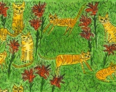 Tabbies and tiger lilies - Original watercolor painting by Vivienne Strauss.