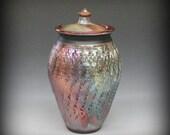 Raku Textured Urn or Lidded Vase
