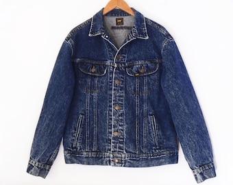 80's LEE stonewashed blue denim // vintage jeans jacket // made in USA // indigo blue trucker jacket M L