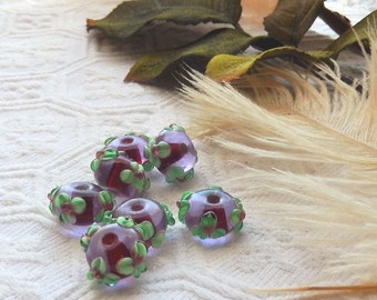 Sale......Green Raspberry Floral Raised Lampwork Glass Artisan Crafted Beads