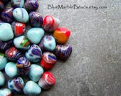 Boho Beads, Czech Glass Beads, Nugget Beads, Multi Colored Bead, Rock Bead, Preciosa, 25 Beads