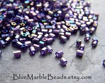 Seed Beads, India Beads, Tribal Bead, Boho Bead, Boho Chic, Vintage Glass, Purple Bead, Hexagon, AB Finish, 11/0, Jewelry Supplies, 1 Ounce