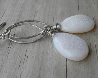 Subtle White Druzy Sterling Silver Dangle Earrings