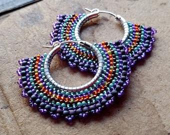 Rainbow Hoop Earrings, Purple and Orange Seed Bead Earrings, Silver Hoops