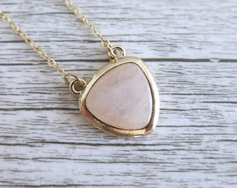 Gold Rose Quartz Necklace Rose Quartz Pendant Gold Plated Polished Gemstone