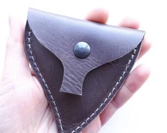 LEAF Handmade leather coin purse #3257 chocolate brown