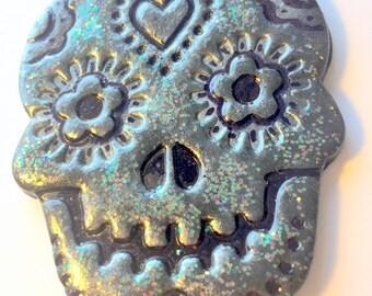 Black Sugar Skull Holographic Glitter Day of the Dead Ornament or Decoration